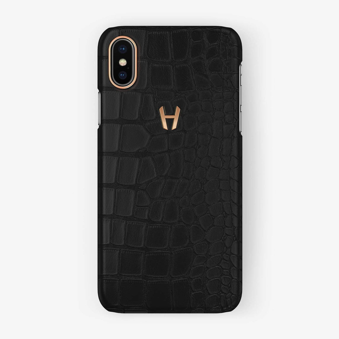 Alligator [iPhone Case] [model:iphone-xsmax-case] [colour:phantom-black] [finishing:rose-gold] - Hadoro