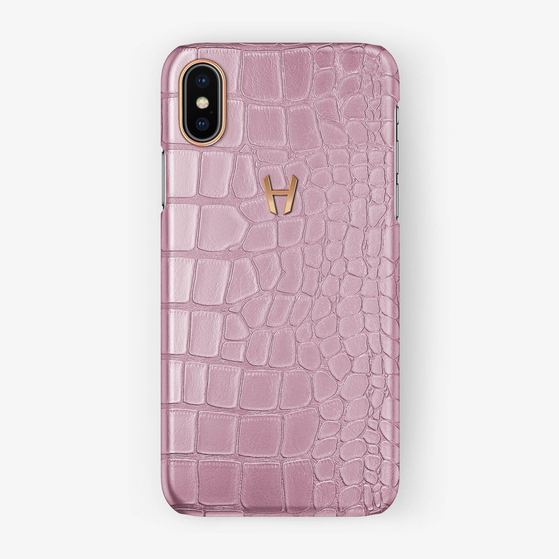 Alligator Case iPhone X/Xs | Pink - Rose Gold without-personalization