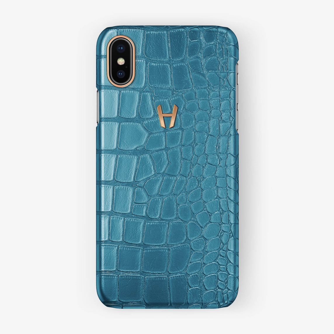 Alligator Case iPhone X/Xs | Teal - Rose Gold without-personalization
