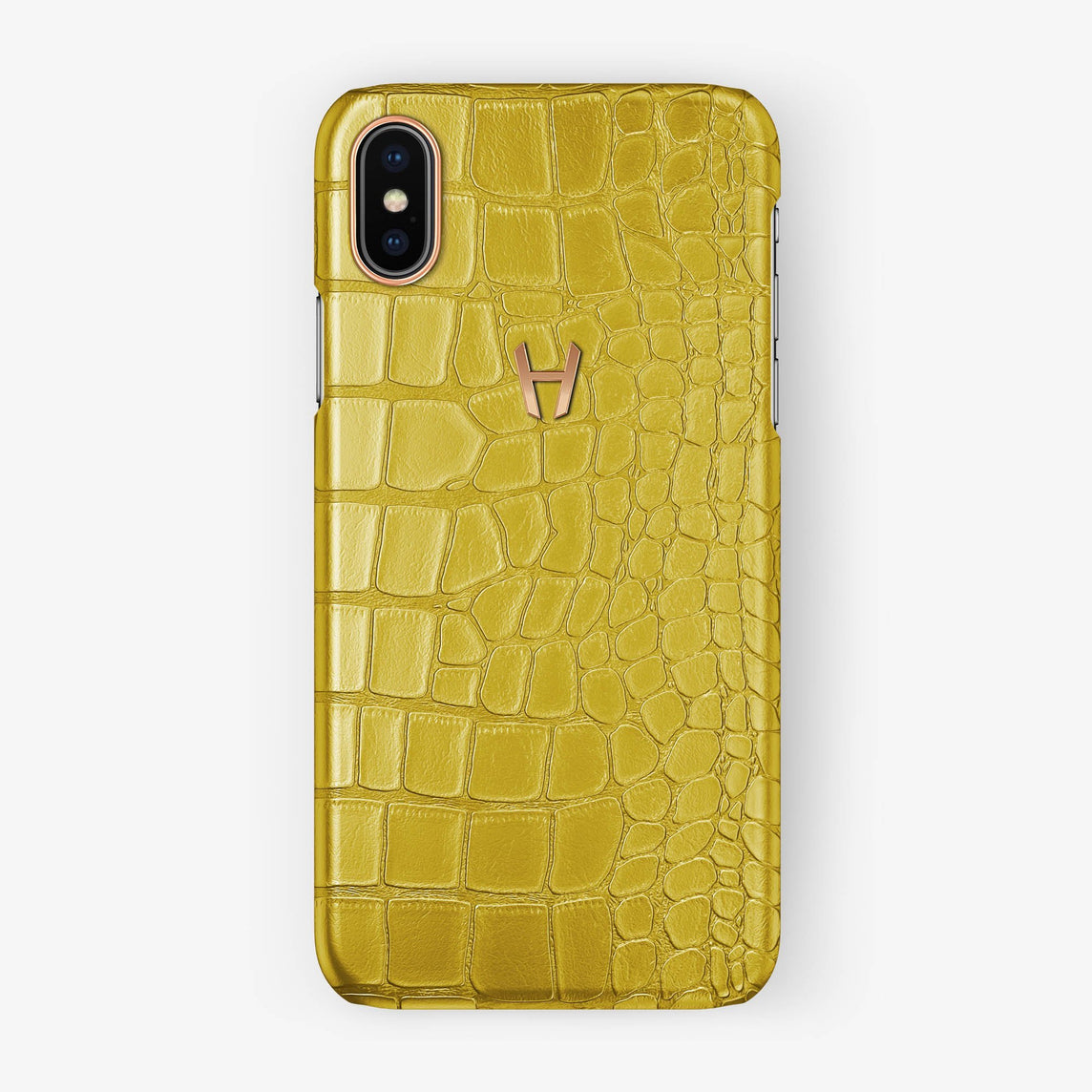 Alligator Case iPhone X/Xs | Yellow - Rose Gold without-personalization