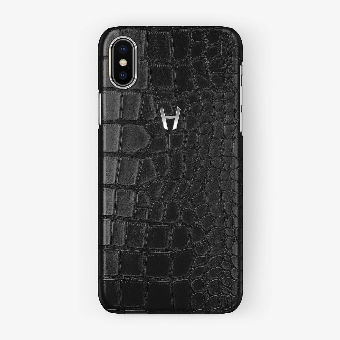 Alligator Case iPhone X/Xs | Black - Stainless Steel - Hadoro