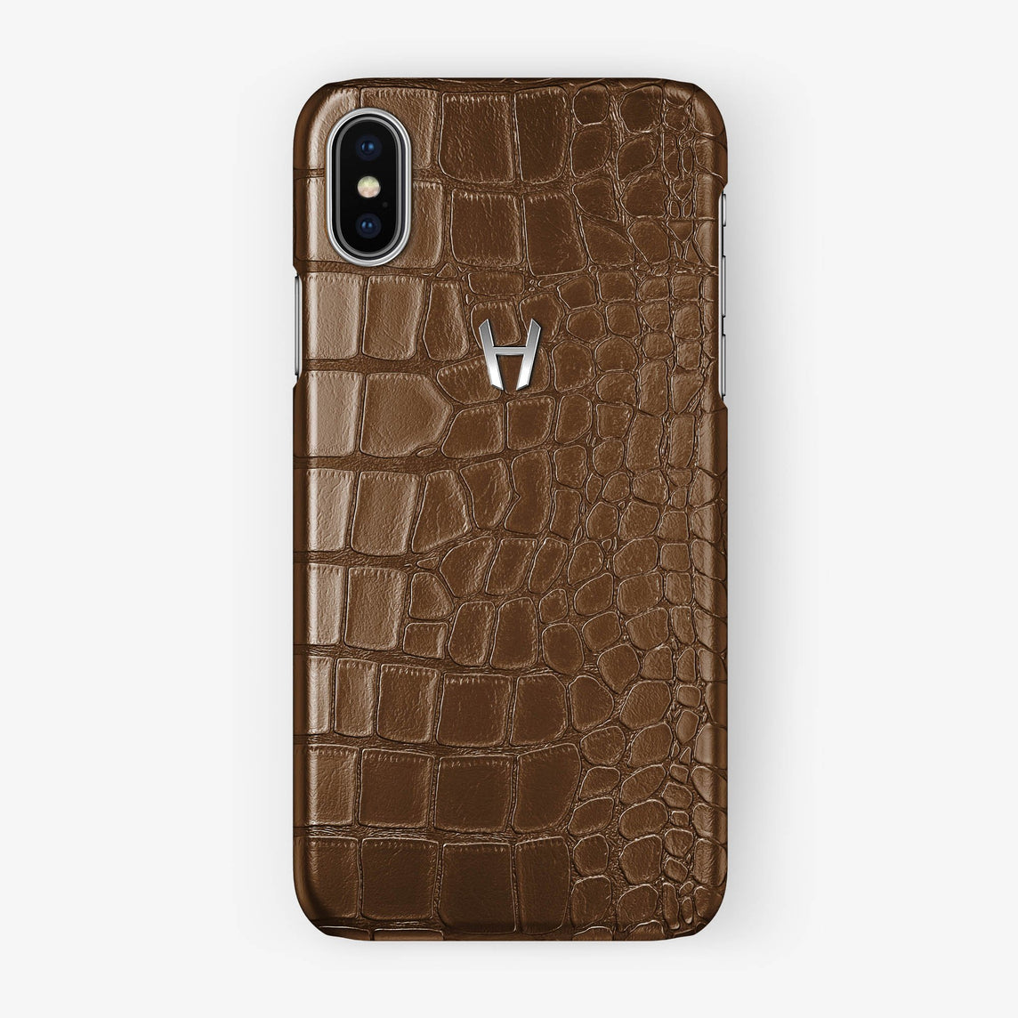 Alligator Case iPhone X/Xs | Brown - Stainless Steel without-personalization