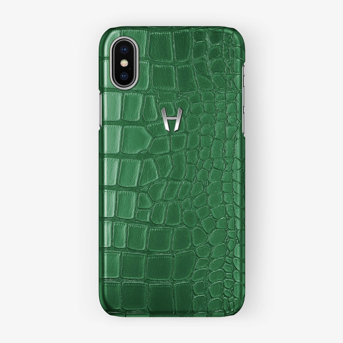 Alligator Case iPhone X/Xs | Green - Stainless Steel - Hadoro