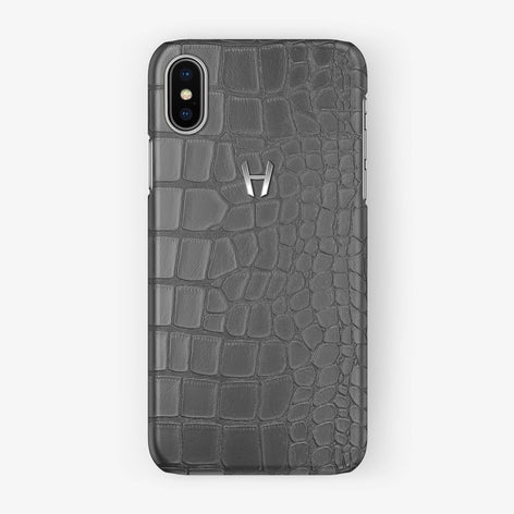 Alligator Case iPhone X/Xs | Grey - Stainless Steel - Hadoro