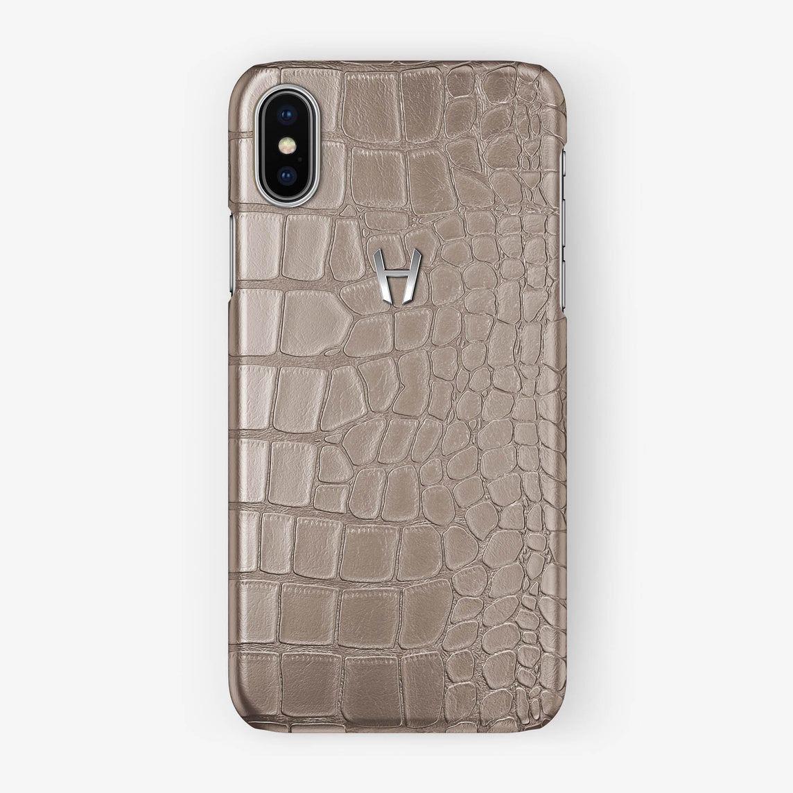 Alligator Case iPhone X/Xs | Latte - Stainless Steel without-personalization