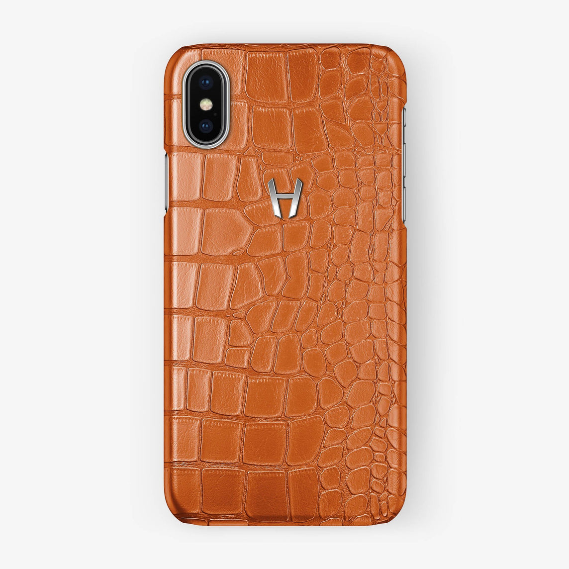 Alligator Case iPhone X/Xs | Orange - Stainless Steel without-personalization