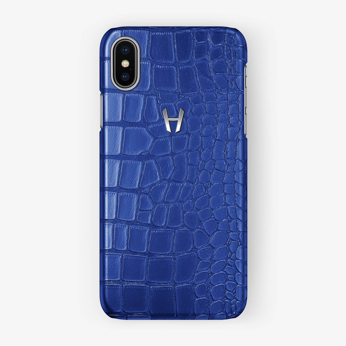 Alligator Case iPhone X/Xs | Peony Blue - Stainless Steel without-personalization