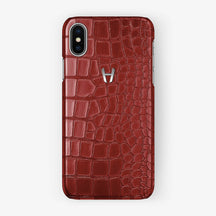 Alligator Case iPhone X/Xs | Red - Stainless Steel - Hadoro