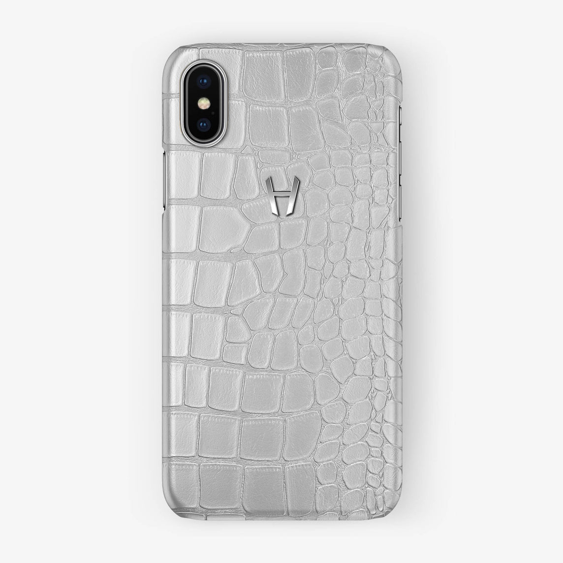 Alligator Case iPhone X/Xs | White - Stainless Steel without-personalization