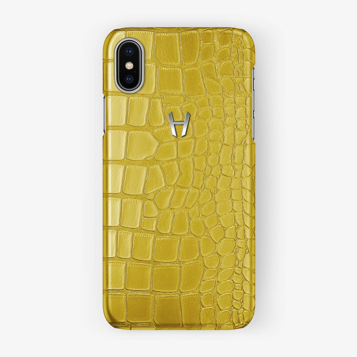 Alligator [iPhone Case] [model:iphone-xsmax-case] [colour:yellow] [finishing:stainless-steel] - Hadoro
