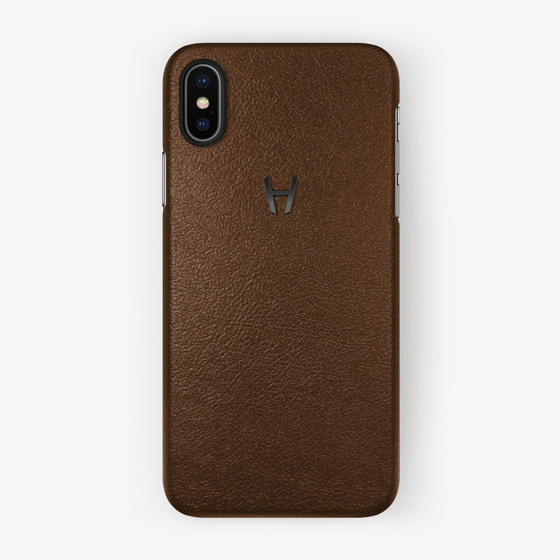 Brown Calfskin iPhone Case for iPhone X finishing black - Hadoro Luxury Cases