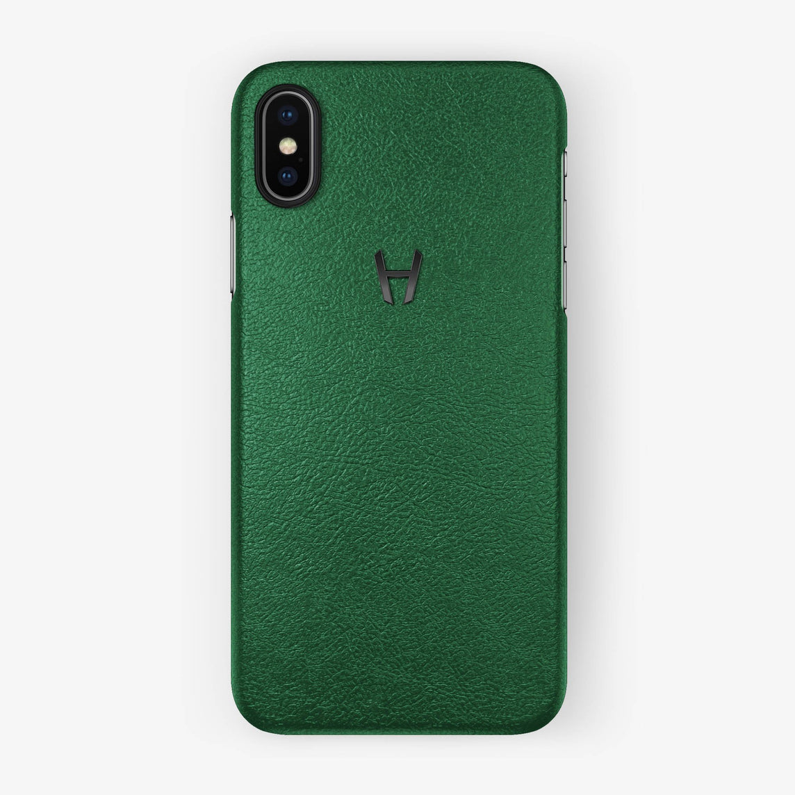 Green Calfskin iPhone Case for iPhone X finishing black - Hadoro Luxury Cases