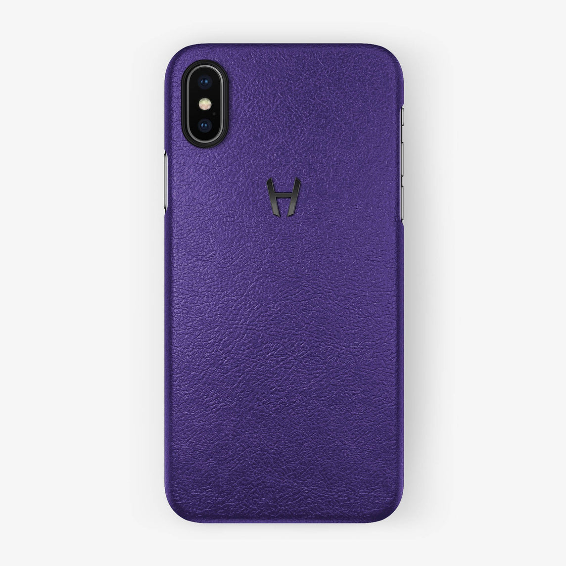 Calfskin Case iPhone X/Xs | Purple - Black without-personalization