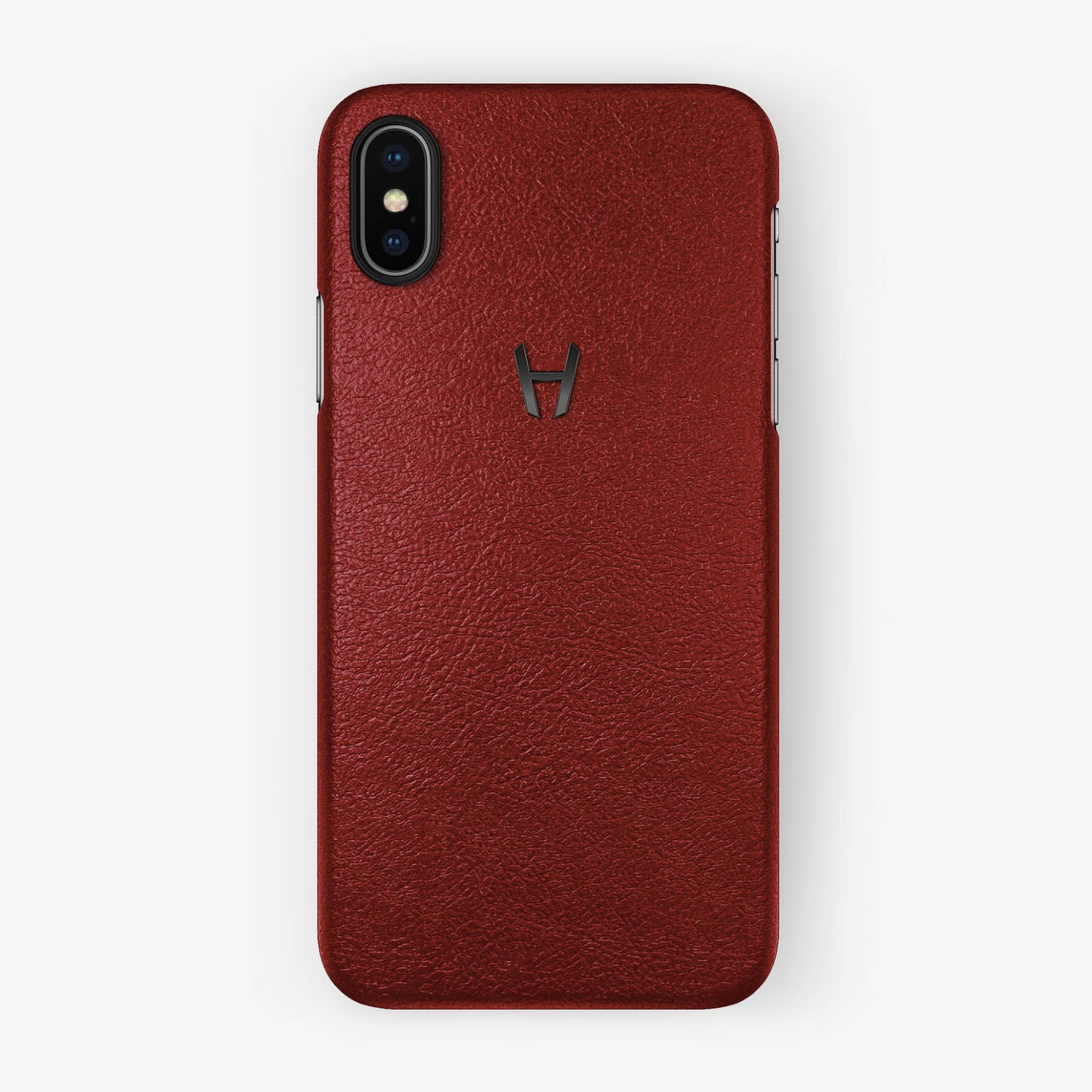 Red Calfskin iPhone Case for iPhone X finishing black - Hadoro Luxury Cases