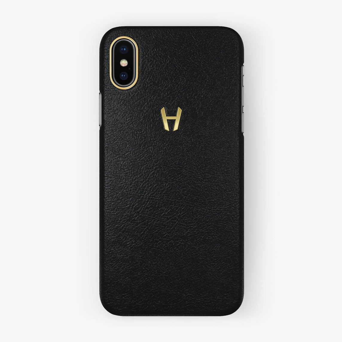 Calfskin Case iPhone X/Xs | Black - Yellow Gold without-personalization