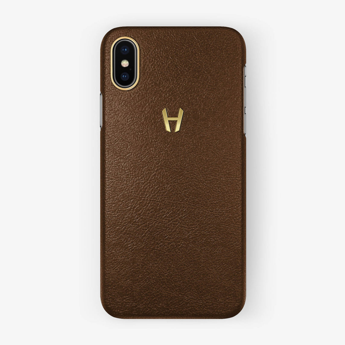 Brown Calfskin iPhone Case for iPhone X finishing yellow gold - Hadoro Luxury Cases
