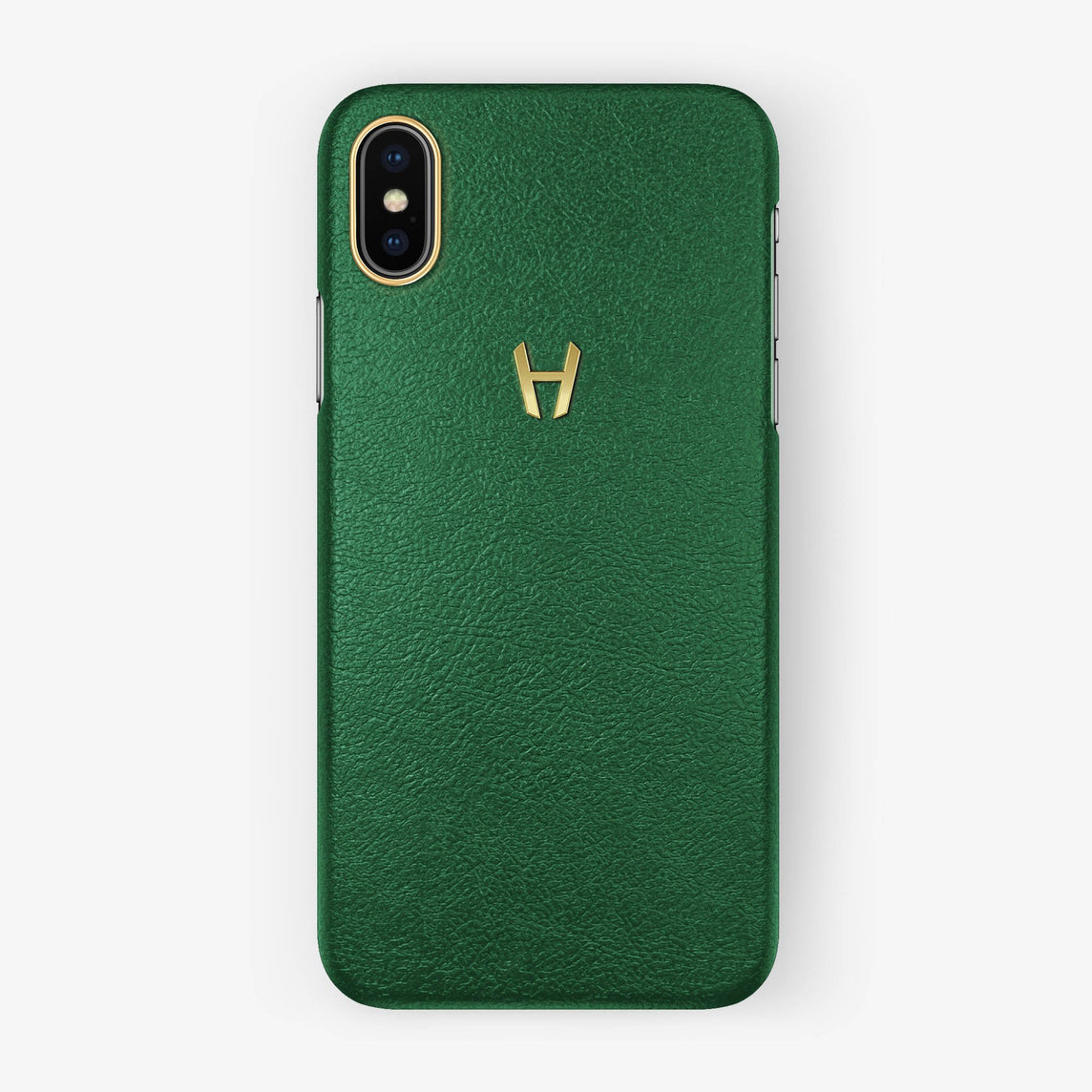 Calfskin Case iPhone X/Xs | Green - Yellow Gold without-personalization