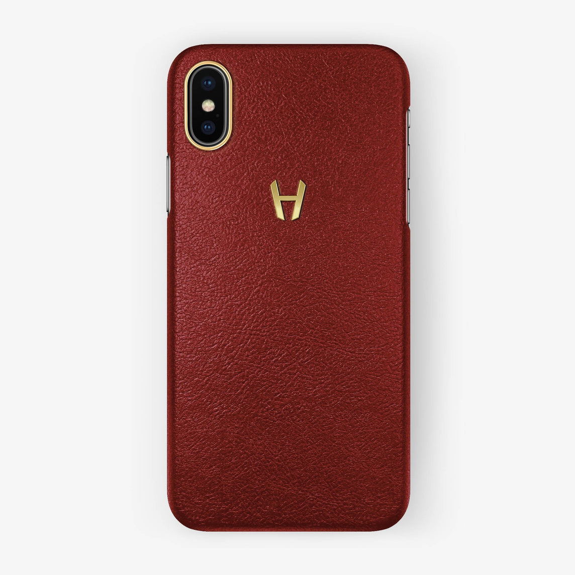 Red Calfskin iPhone Case for iPhone X finishing yellow gold - Hadoro Luxury Cases