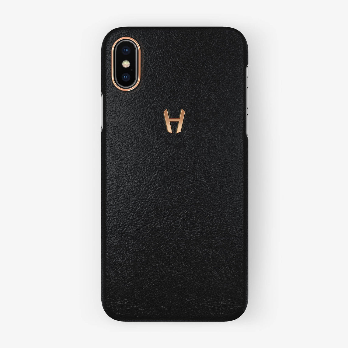 Black Calfskin iPhone Case for iPhone X finishing rose gold - Hadoro Luxury Cases