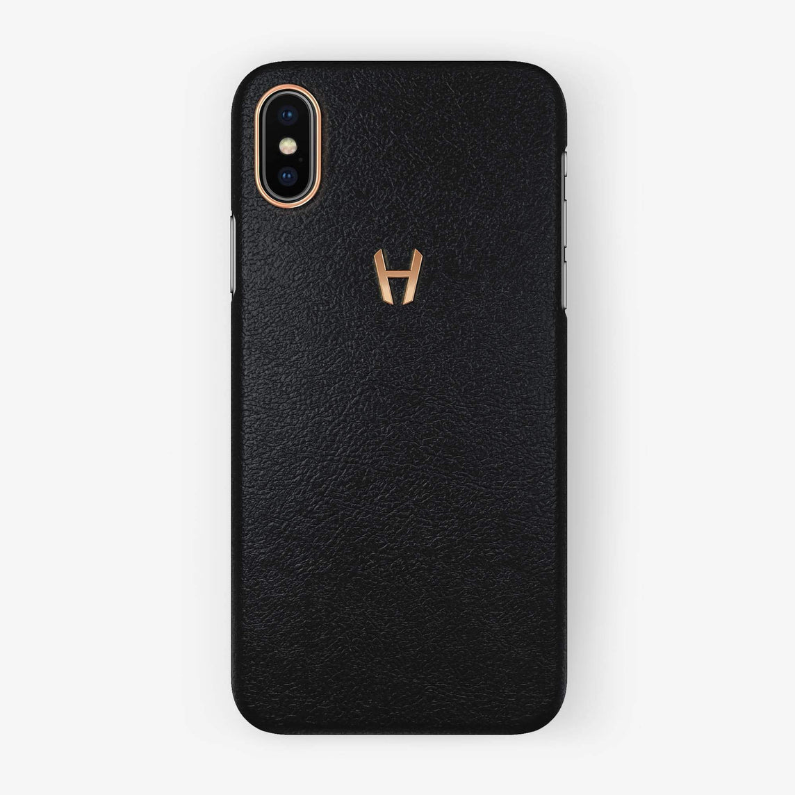 Calfskin Case iPhone Xs Max | Black - Rose Gold without-personalization
