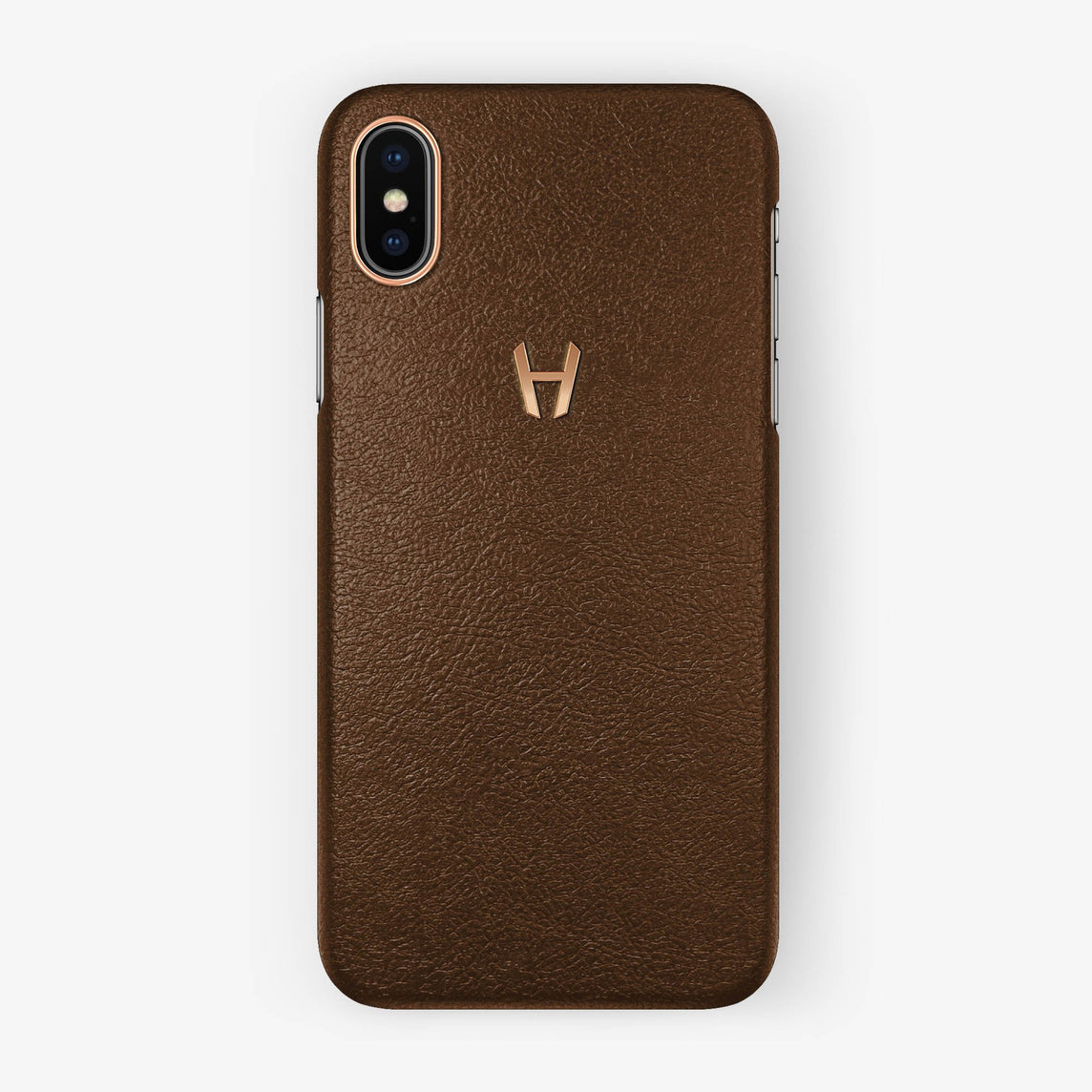 Calfskin Case iPhone X/Xs | Brown - Rose Gold without-personalization