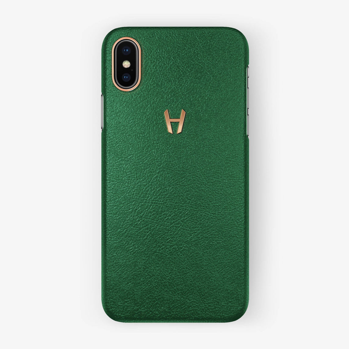 Calfskin Case iPhone X/Xs | Green - Rose Gold without-personalization