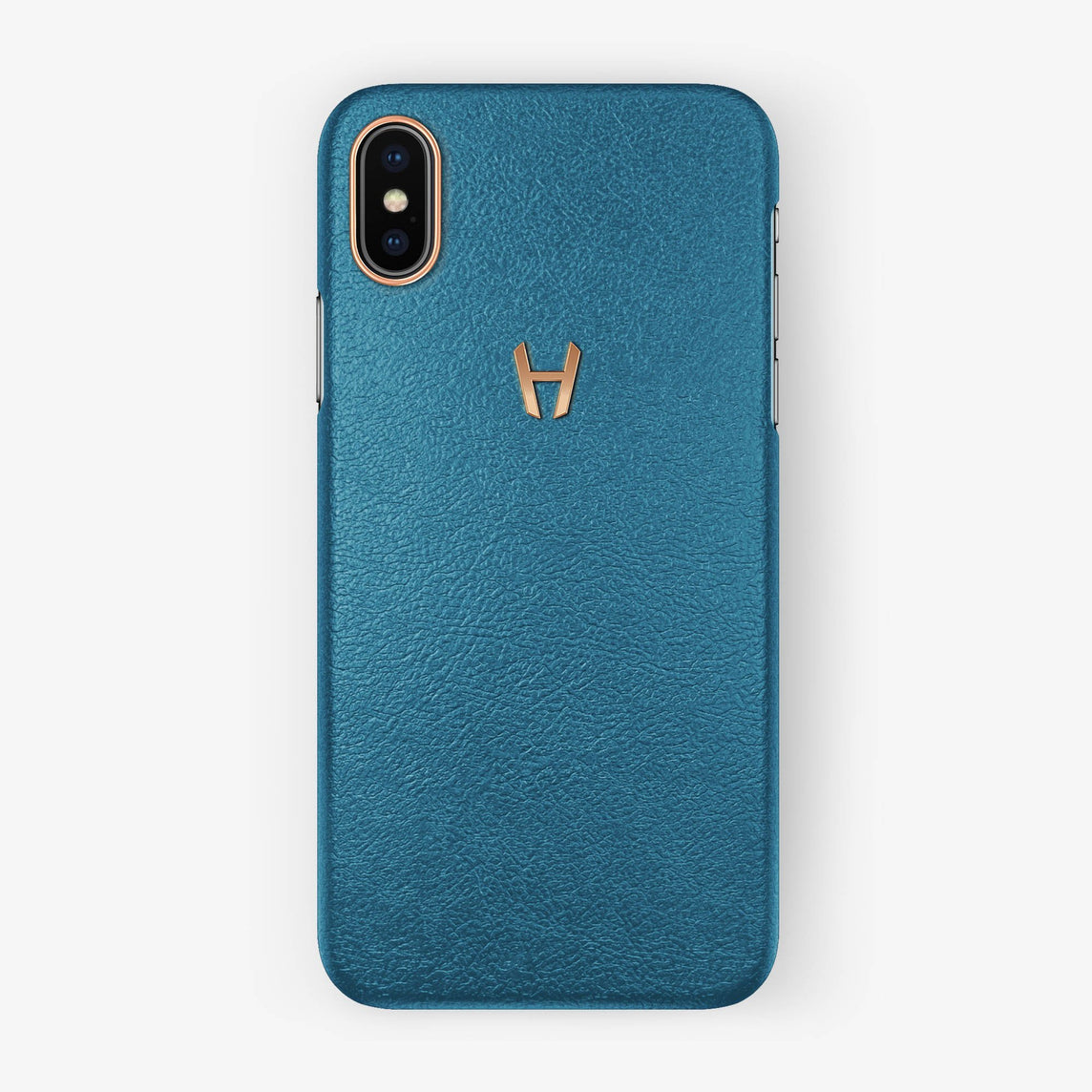 Calfskin Case iPhone X/Xs | Teal - Rose Gold without-personalization