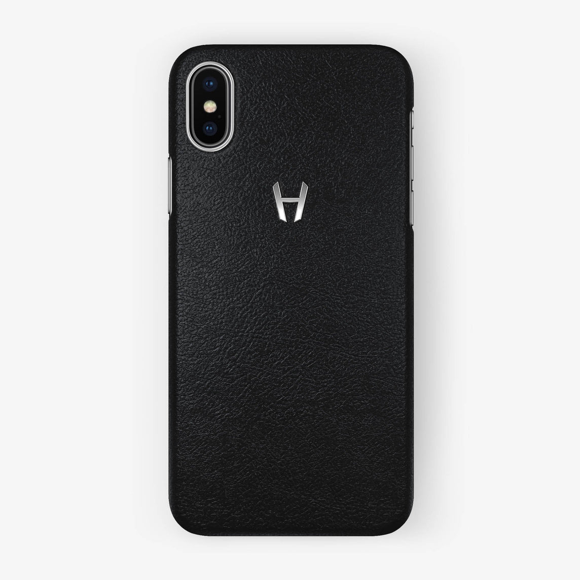 Calfskin Case iPhone X/Xs | Black - Stainless Steel without-personalization
