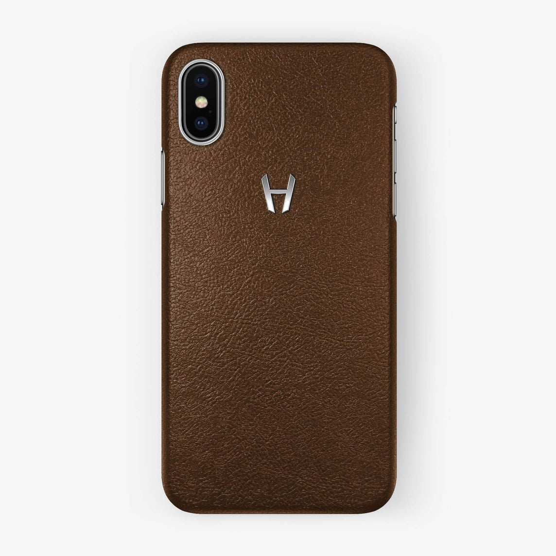 Calfskin Case iPhone Xs Max | Brown - Stainless Steel without-personalization