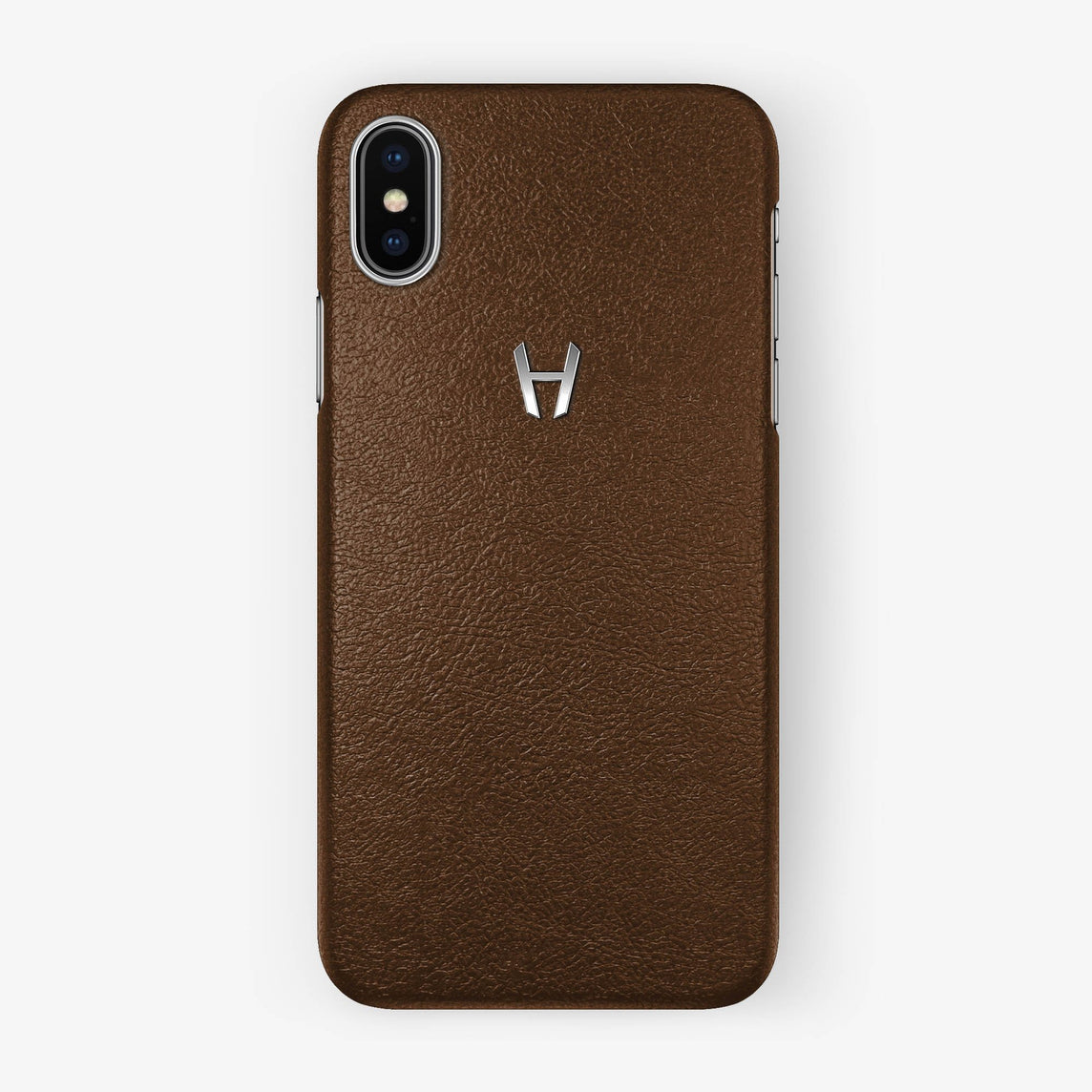 Brown Calfskin iPhone Case for iPhone X finishing stainless steel - Hadoro Luxury Cases