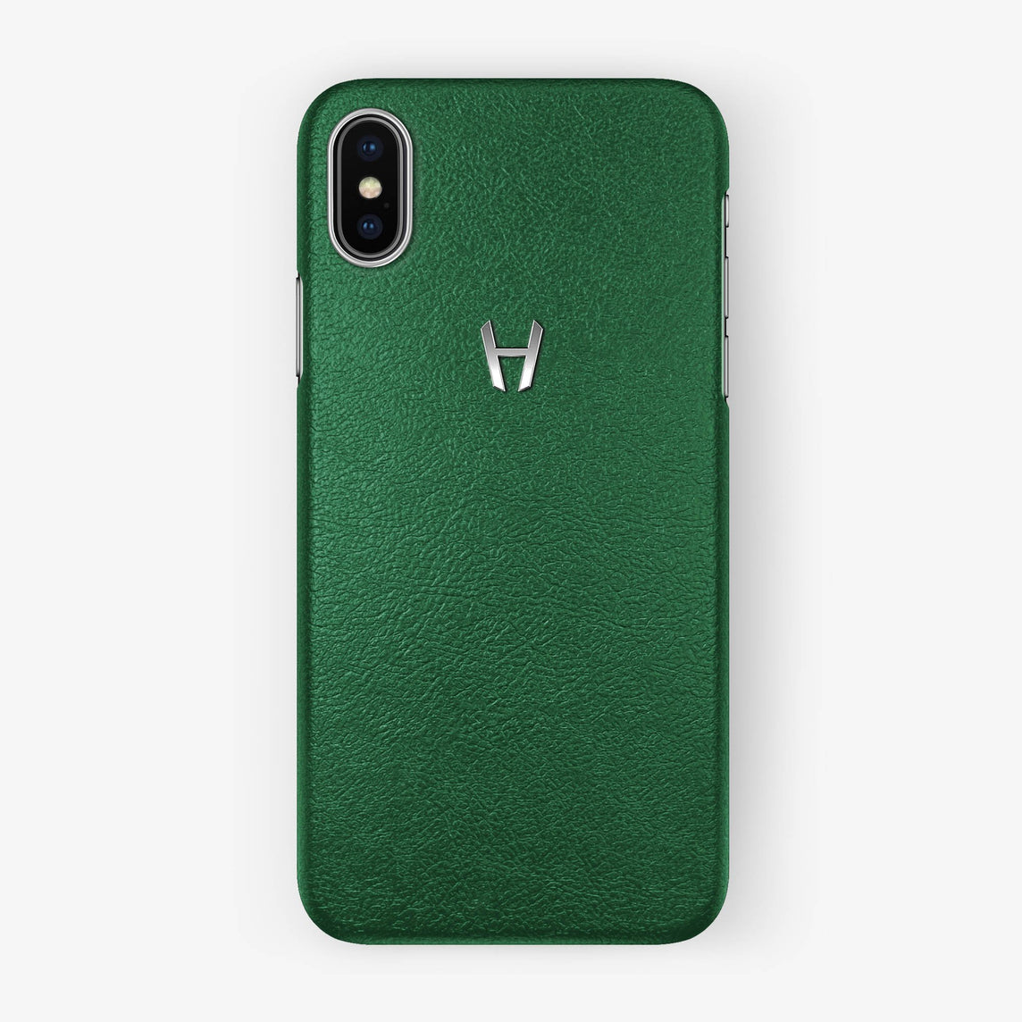 Calfskin Case iPhone X/Xs | Green - Stainless Steel without-personalization