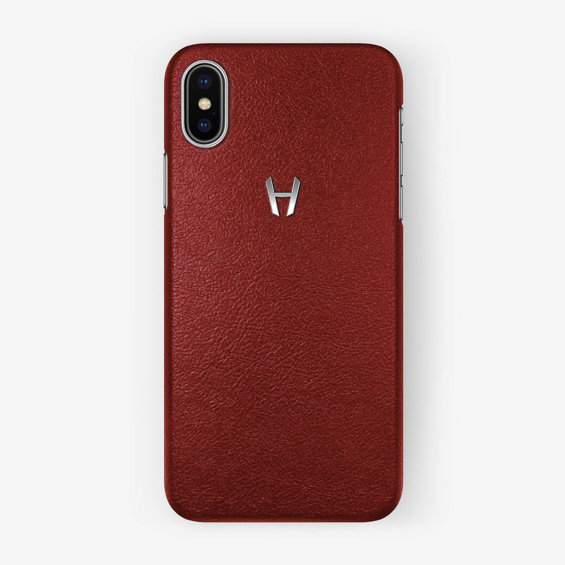 Calfskin Case iPhone X/Xs | Red - Stainless Steel without-personalization