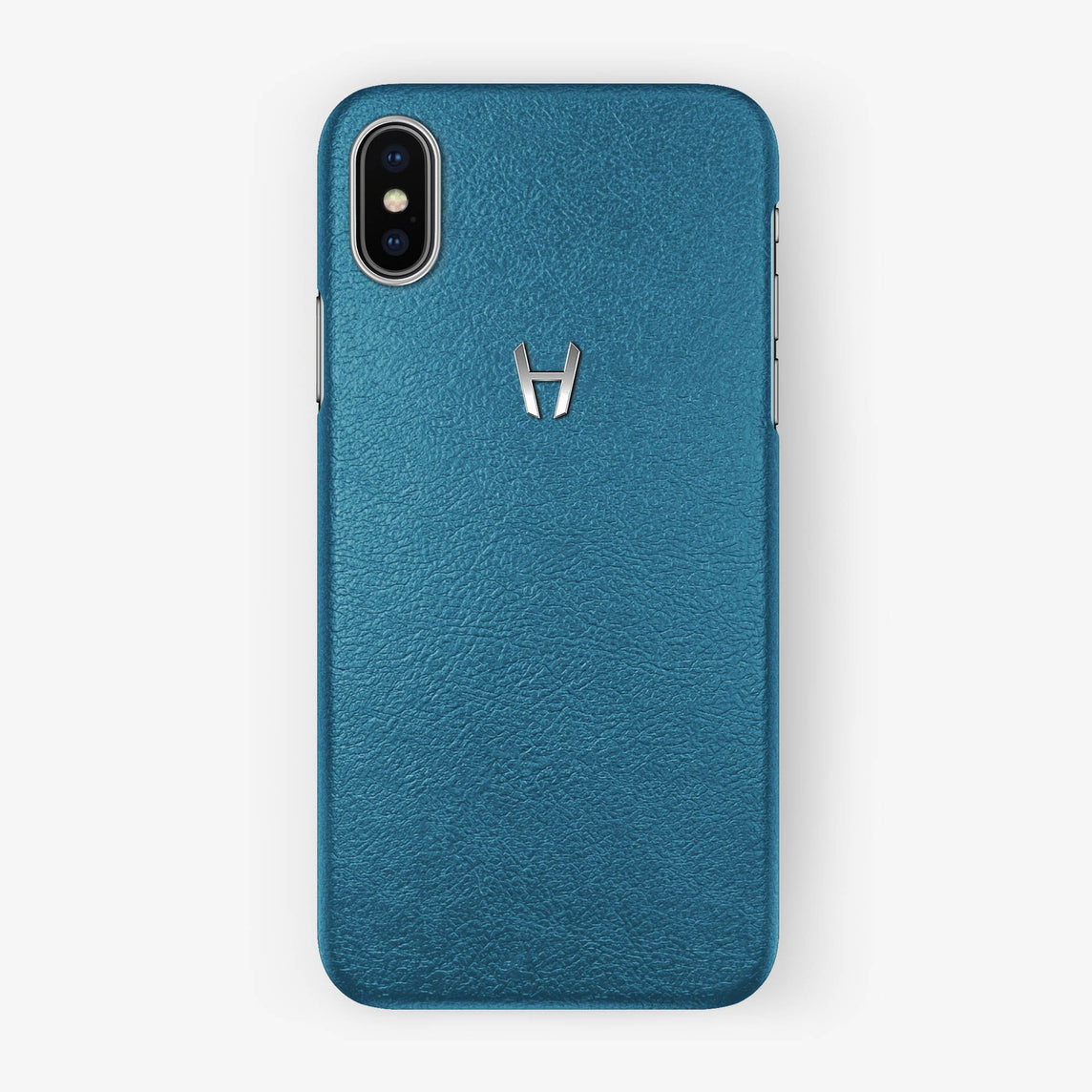 Calfskin Case iPhone X/Xs | Teal - Stainless Steel without-personalization