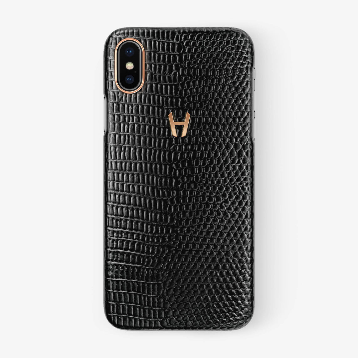 Lizard Case iPhone X/Xs | Black - Rose Gold withouth-personalization