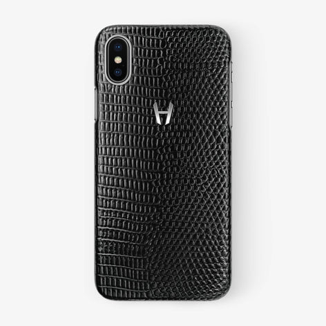 Black Lizard iPhone Case for iPhone X finishing stainless steel - Hadoro Luxury Cases