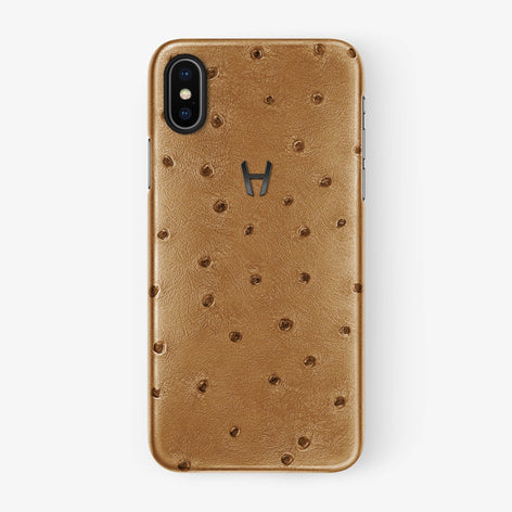 Chestnut Ostrich iPhone Case for iPhone X finishing black - Hadoro Luxury Cases