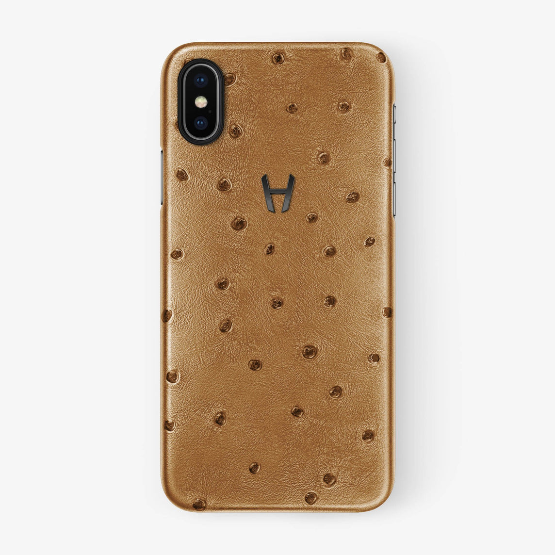 Ostrich Case iPhone X/Xs | Chestnut - Black withouth-personalization