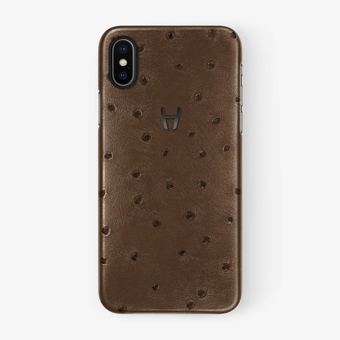 Tobacco Ostrich iPhone Case for iPhone X finishing black - Hadoro Luxury Cases