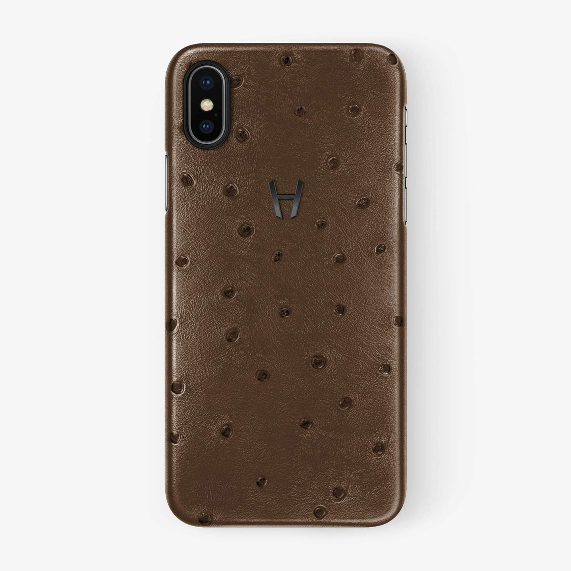 Ostrich Case iPhone Xs Max | Tobacco - Black withouth-personalization