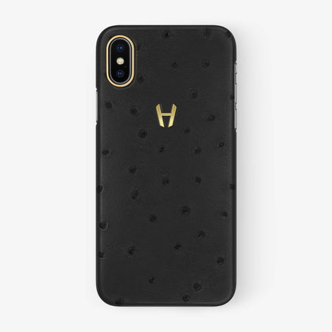 Anthracite Ostrich iPhone Case for iPhone X finishing yellow gold - Hadoro Luxury Cases