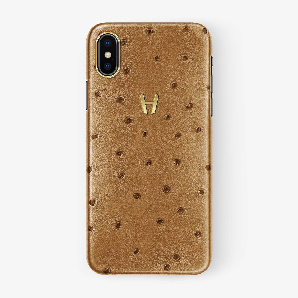 Ostrich Case iPhone X/Xs | Chestnut - Yellow Gold withouth-personalization