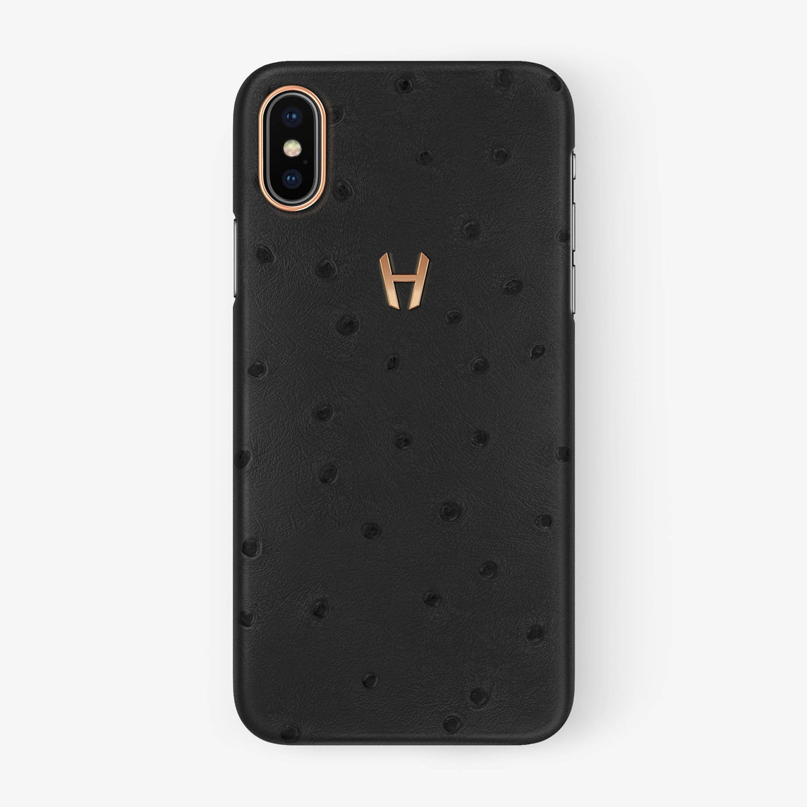 Anthracite Ostrich iPhone Case for iPhone X finishing rose gold - Hadoro Luxury Cases