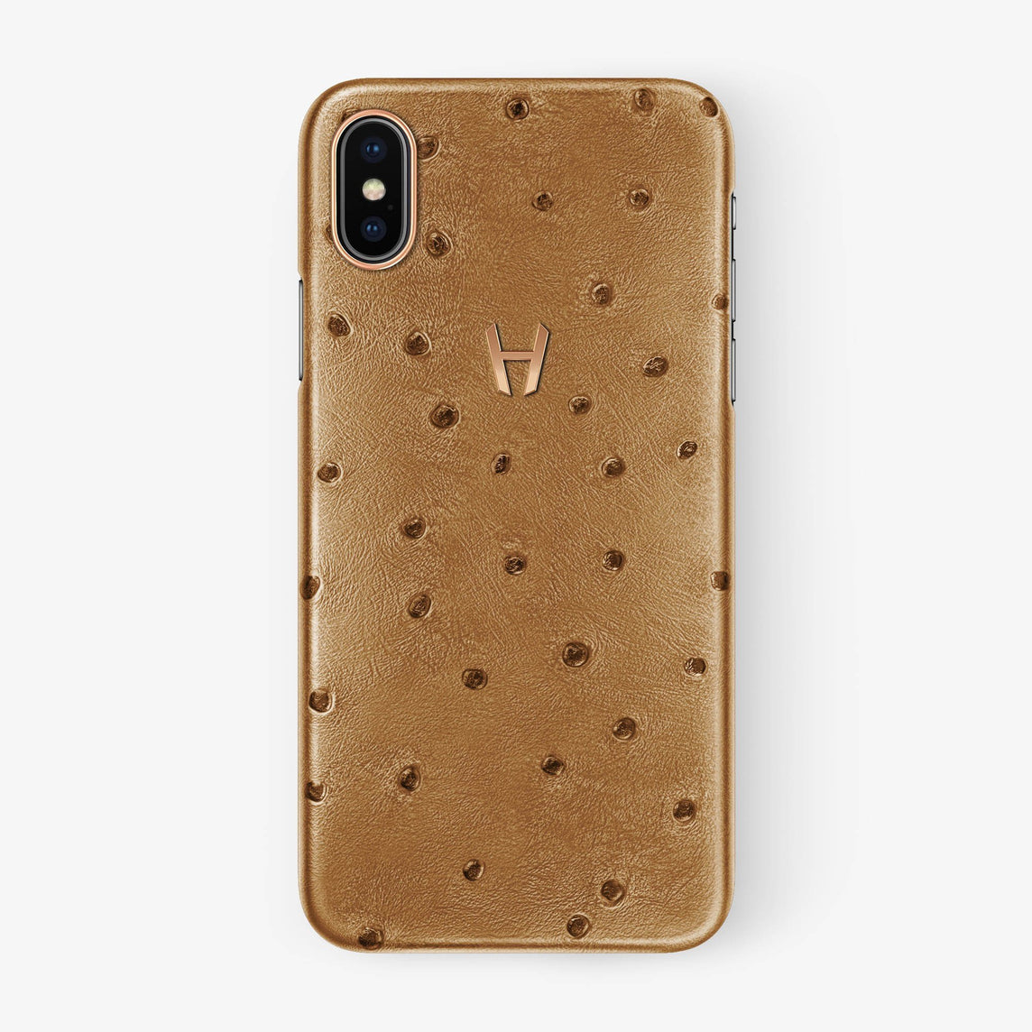 Chestnut Ostrich iPhone Case for iPhone XS Max finishing rose gold - Hadoro Luxury Cases
