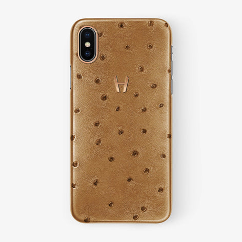 Chestnut Ostrich iPhone Case for iPhone X finishing rose gold - Hadoro Luxury Cases