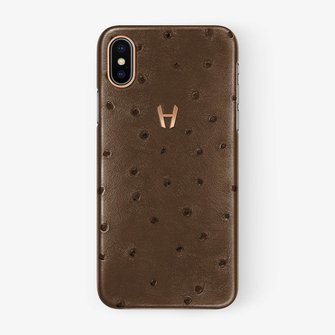 Ostrich Case iPhone X/Xs | Tobacco - Rose Gold withouth-personalization
