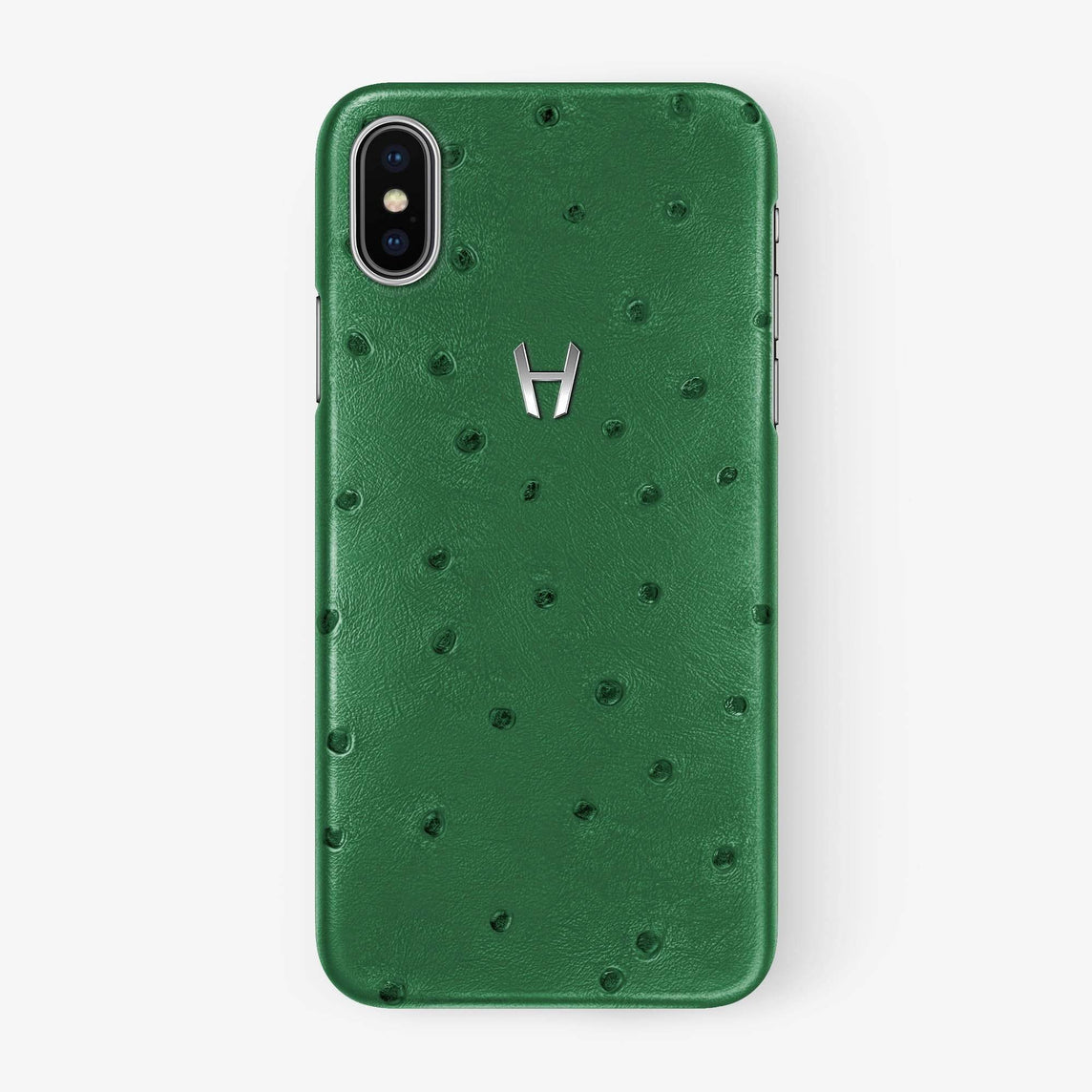 Ostrich Case iPhone Xs Max | Green - Stainless Steel withouth-personalization