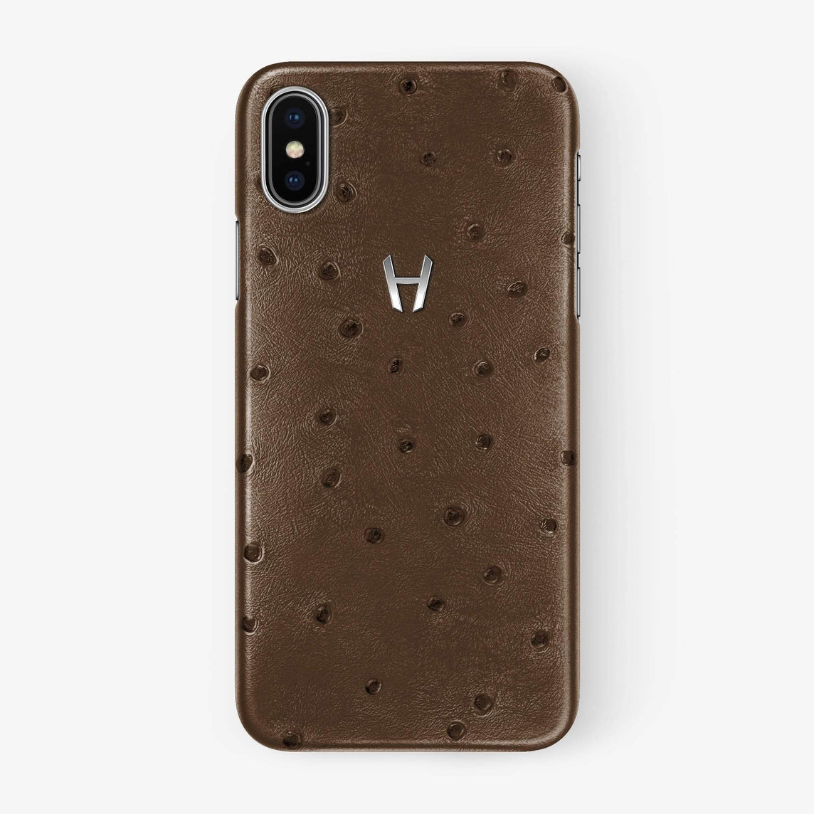 Ostrich Case iPhone Xs Max | Tobacco - Stainless Steel withouth-personalization