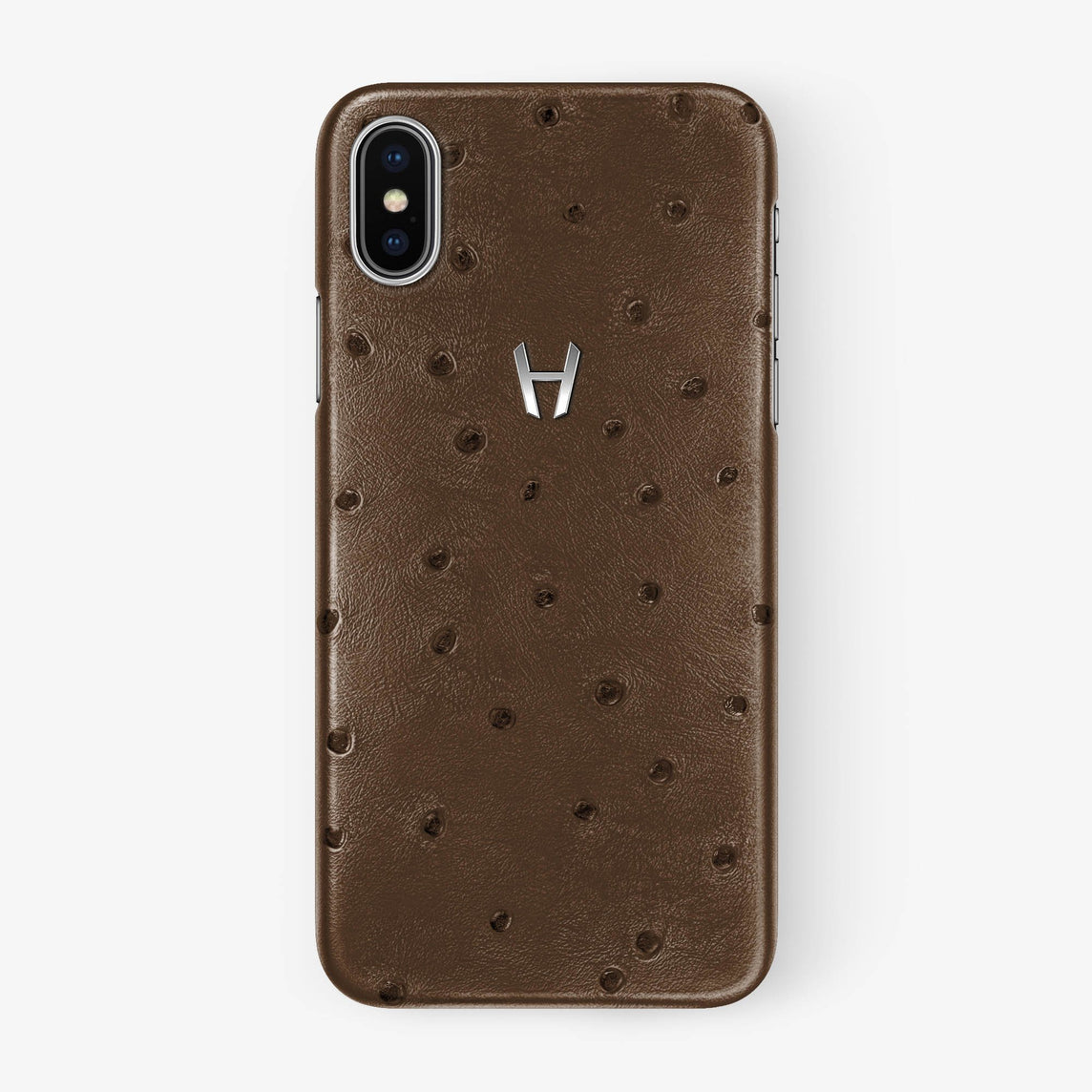Ostrich Case iPhone X/Xs | Tobacco - Stainless Steel withouth-personalization