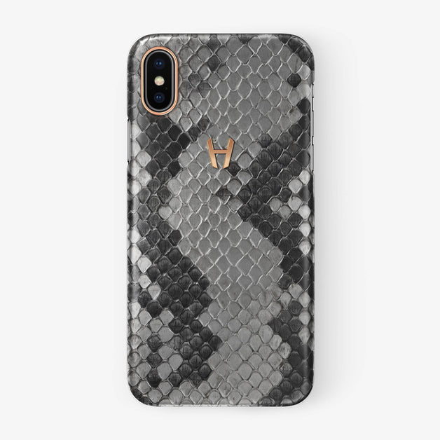 Natural Python iPhone Case for iPhone X finishing rose gold - Hadoro Luxury Cases
