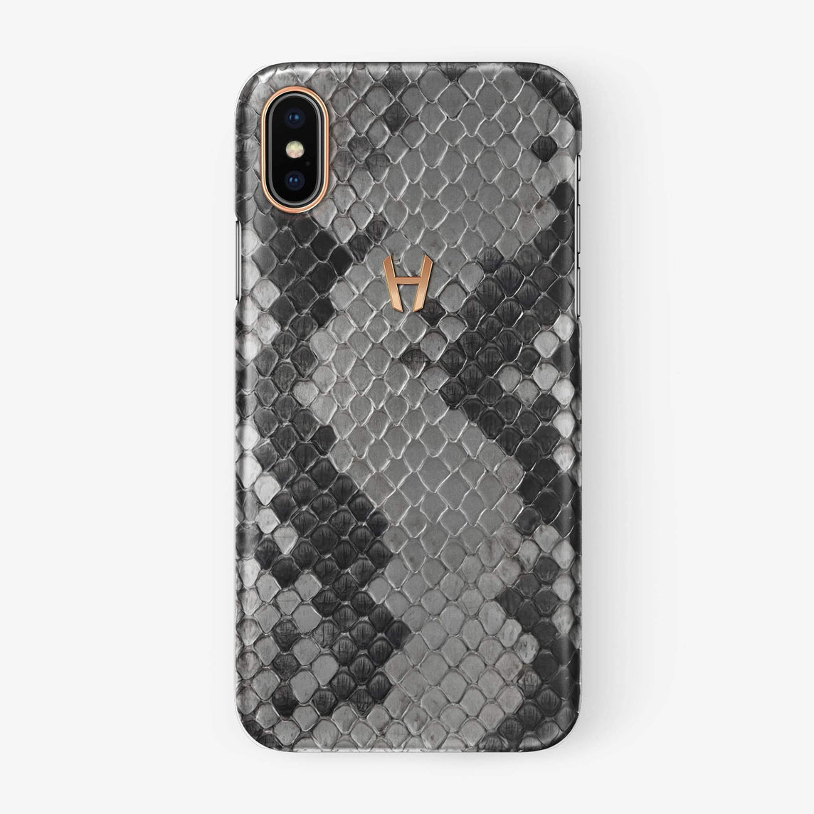 Natural Python iPhone Case for iPhone XS Max finishing rose gold - Hadoro Luxury Cases